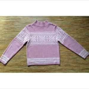 Sonoma Sweater Fleece Pink White Snowflake Nordic